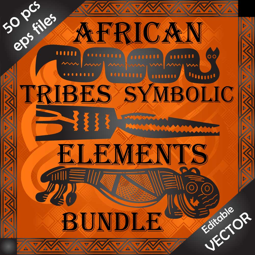 Download Wild African tribe people cultural symbols and design elements all in one bundle Image