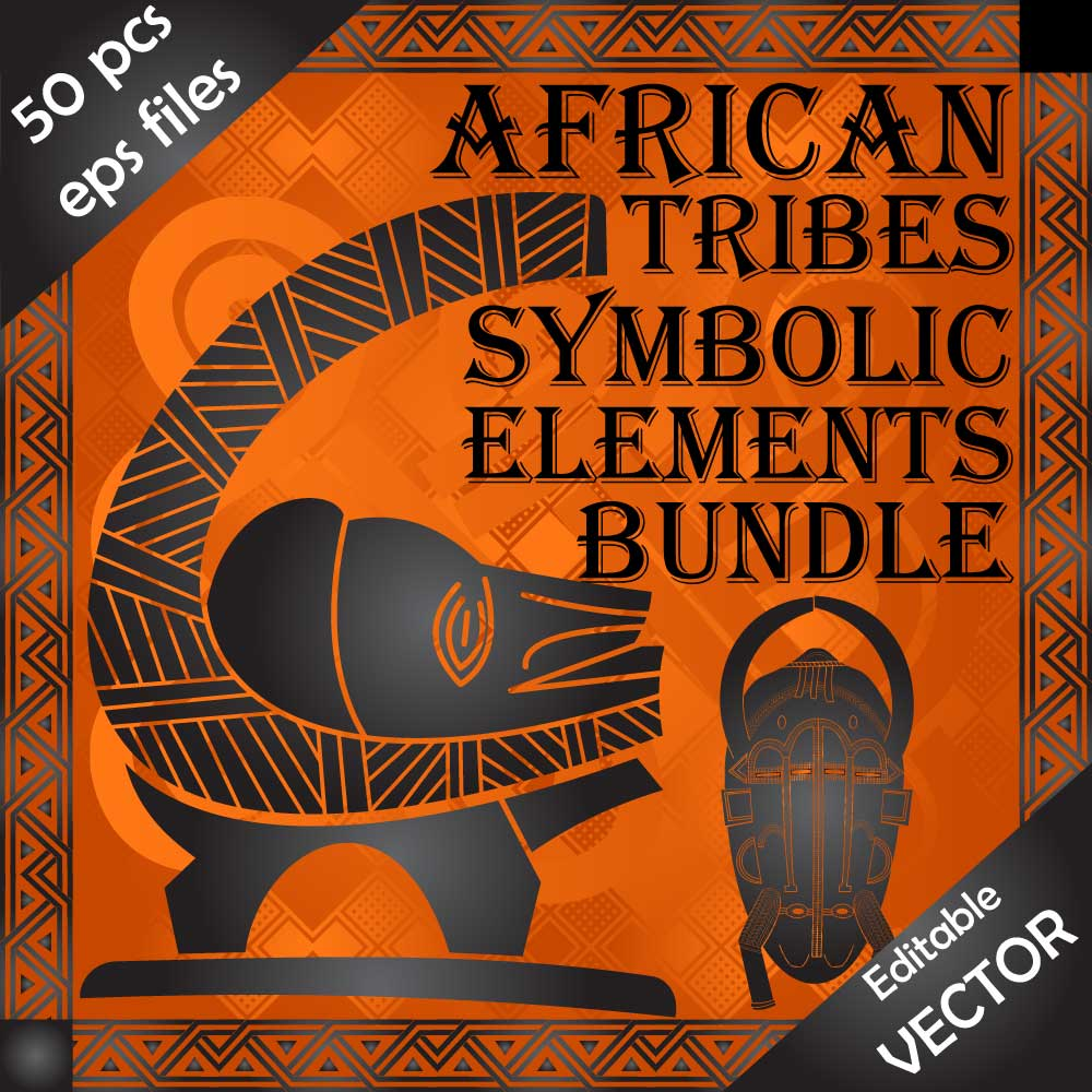 Download African cultural decorative 50 vector designs and symbolic elements Image