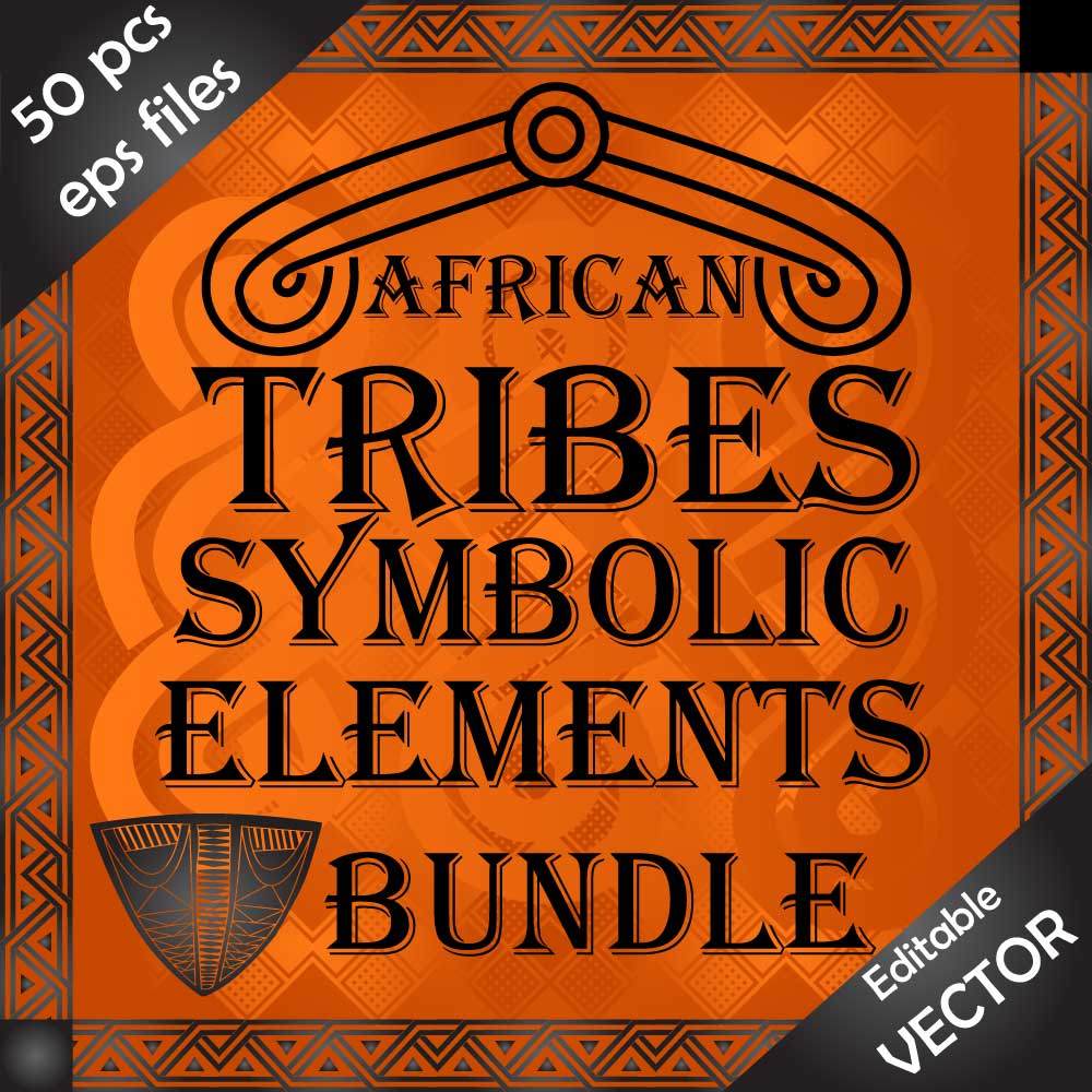 Design bundle of African tribes symbolic ornaments and drawings Image