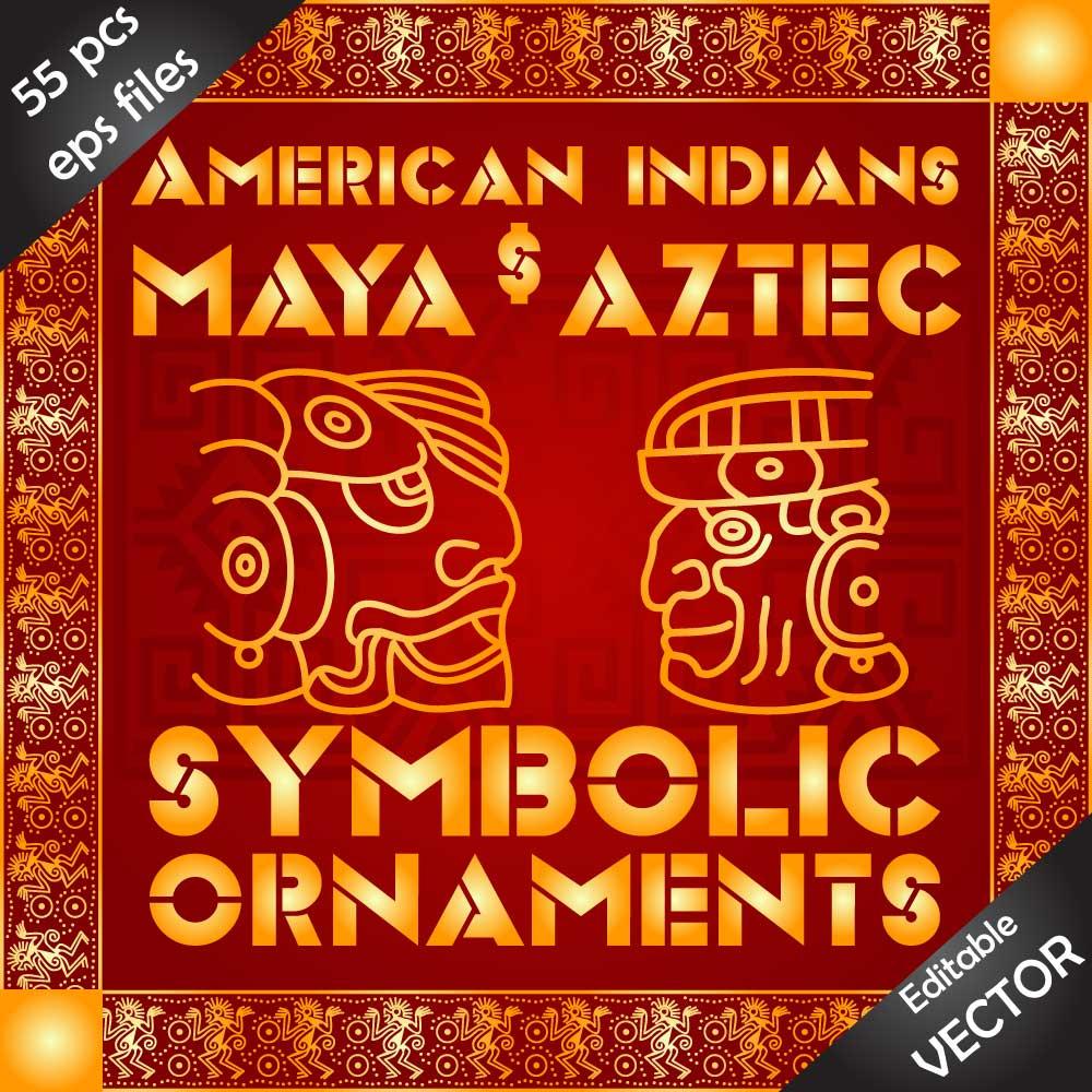 Download American indians, Maya and Aztec symbolic ornaments bundle Image