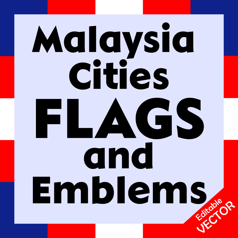 Malaysia and regions flags and emblems in one bundle Image