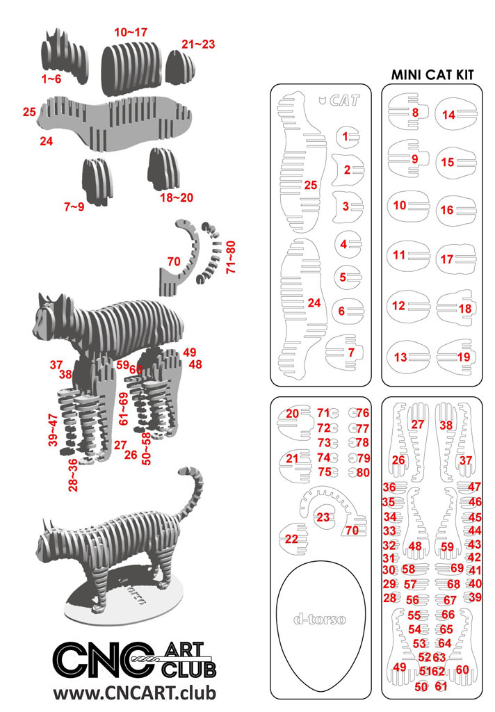 Cat Design Dxf Plan For Cnc And Laser Cut