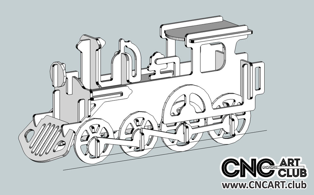 Locomotive DXF Plan For CNC And Laser Works