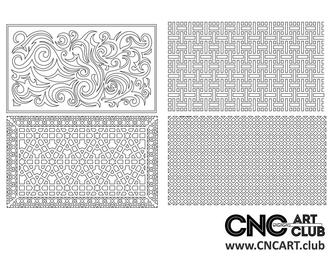 Download Free square Lattice divider floral pattern for CNC woodworking