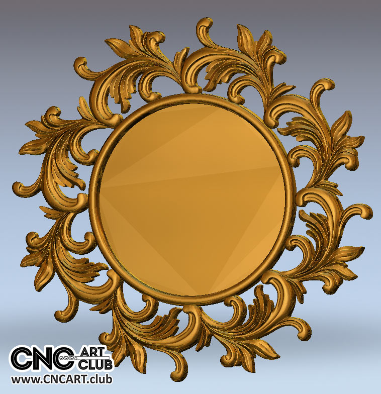 Decorative Round Mirror Frame 3d Stl File For Cnc