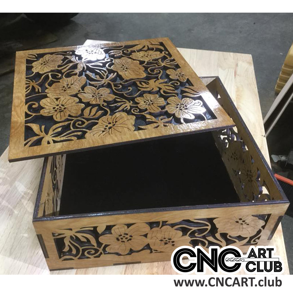 Decorative Box Plans Free : Wooden box with flowers download free dxf file