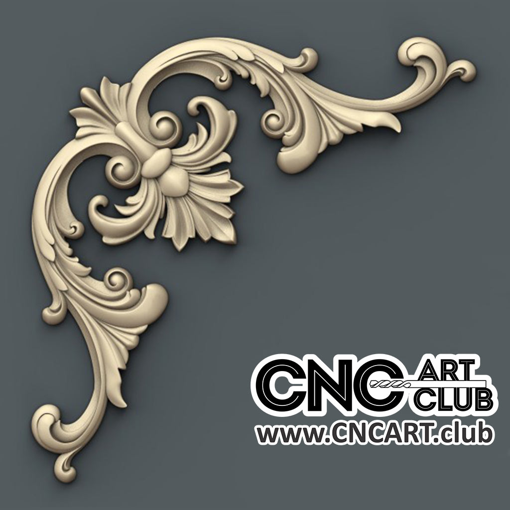 beautiful 3d floral corner overlay design for cnc woodworking