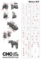 2D 10014 Animal Rhino Design Plane For Laser Machine Cut And Cnc Dxf