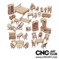 2D 30001 Full Doll Furniture Kit Planes In DXF To Cut In CNC