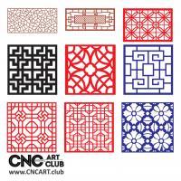 2d Lattice 1004 Floral CNC Router Decorative Lattice DXF Patters Kit For Cnc Machining