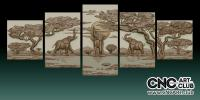 3D 10001 African Elephants Decorative Panno For CNC Router File Download