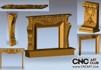 Classic Fireplace decorative ornaments - 3D STL file for CNC woodworking