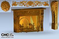 3D 110005 Elegant Hand Made Fireplace Design For Cnc Engraving