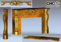 3D 110006 Elegant Hand Made Fireplace Design For Cnc Carving