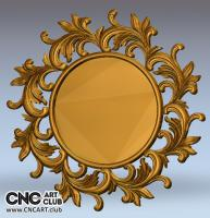 Decorative round mirror frame - 3D STL file for CNC woodworking