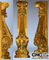 Decorative floral column - 3D STL file for CNC woodworking