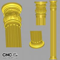 3D 20015 Decorative Column 3D STL Cloumn For CNC Rotary Woodwork