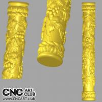 3D 20025 Decorative Column With Grape Leaves 3D STL Cloumn For CNC Rotary Woodwork