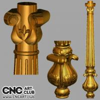 3D 20029 Decorative Column With Flowers 3D STL Cloumn For CNC Rotary Woodwork