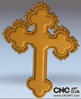 3D 40003 Chrtistian Cross 3d STl File With Ornament For Cnc Cutting