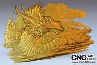 3D 60001 Dragon Protecting Castle Fairy Tale STl File For CNC Carving