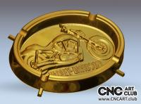 Harley Davidson ashtray download free - 3D STL file for CNC woodworking
