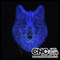 LED 1006 Neon Wolf Head Design For 3d Light Led