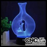 LED 1007 3d Light Led Design Bottle With Bird Neon Night Lamp