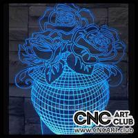 LED 1008 3d Design Of Flowers In Vase Download Neon Light