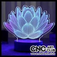 LED 1012 3D Flowers Design For Led Desktop Lamp Download Laser File