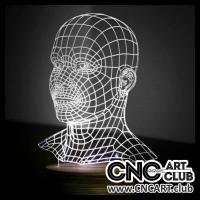 LED 1014 Human Head 3d Led Light Laser Cutting Dxf And Cdr File