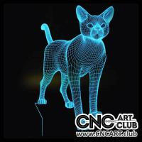 LED 1016 3d Designed Cat Model For Laser Engraving Led Light Lamp Desk
