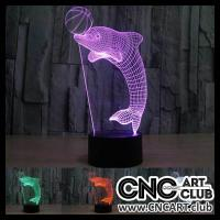 LED 1017 3d Design Of Dolphine Playing With Ball Laser Engraing Night Lamp