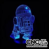 LED 1018 Star Wars R2 D2 Robot 3d Laser Engraving  Night Lamp