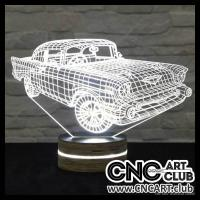 LED 2032 3d Light Led Desifn With Classic Car On It
