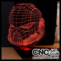 Download vector design for LED night lamp. DXF and CDR file of Star wars soldier in 3D