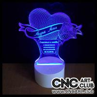 Download free vector design for LED night lamp. DXF and CDR file of heart and rose in 3D