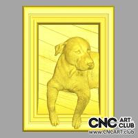 Animals 1001  Cute Dog In Frame 3d Stl File For Cnc Machining