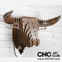 Animals 1005 3D Bull Head Dxf Plan For Laser Mahcine Cut