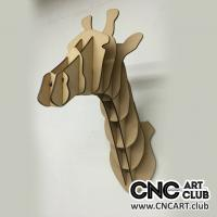 Animals 1006 3D Giraffe Head To Hang From Wall. Download Free Dxf Plan To With Laser Machine
