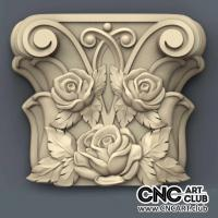 Capitel 1012 Antique Art With Roses Decorative Design For Cnc Machining