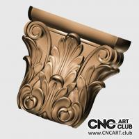 Capitel 1014 Floral Decorative Capital Design For Cnc Machining