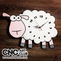 Clocks 1001 Kids Clock With Cure Sheep Design Download Dxf Plan For Cnc And Laser
