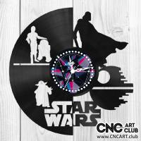 Star wars clock design to cut on vinyl disc. Download for free