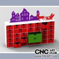 Furniture 1009 Calendar Style Chest Of Drawing DXF Plan. Kids Board For Christmass